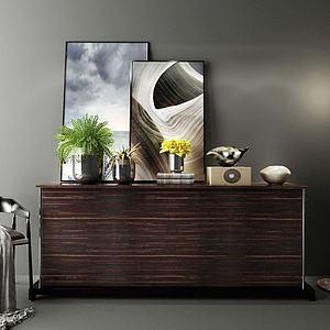 實木玄關柜模型3d模型