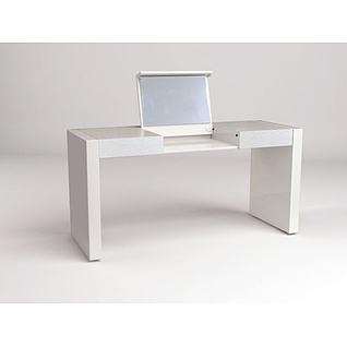 白色实木化妆台3d模型
