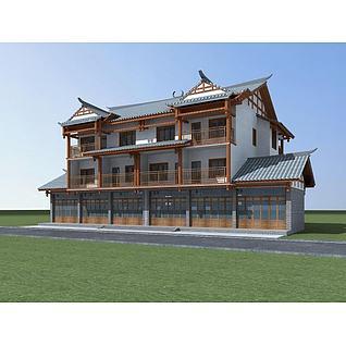 苗族茶楼3d模型