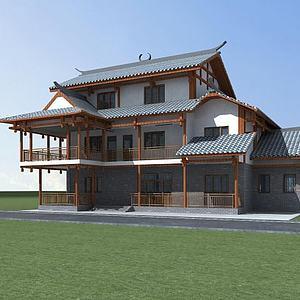 3d苗族民居模型