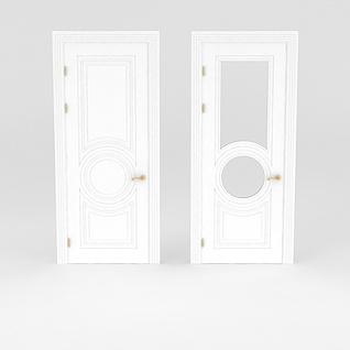白色复合门3d模型