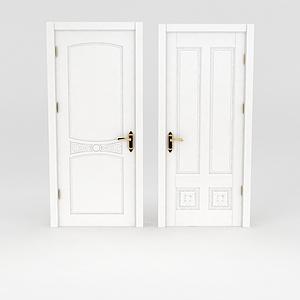 現代白色木門模型
