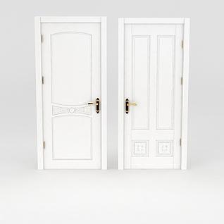 现代白色木门3d模型