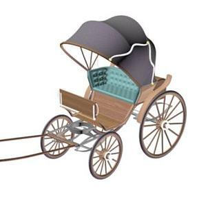 民国黄包车3d模型