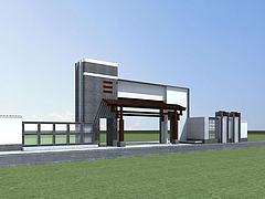 新中式小区入口大门模型3d模型