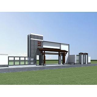 新中式小区入口大门3d模型