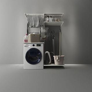 滚筒洗衣机置物架组合3d模型