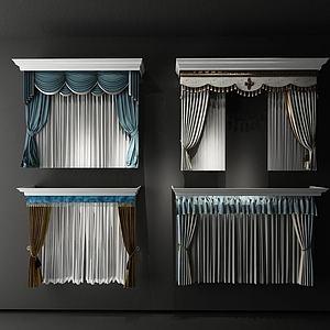 精美双层窗帘模型