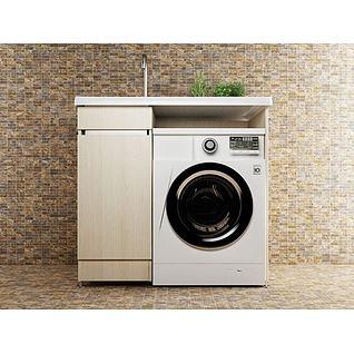 智能滚筒洗衣机3d模型