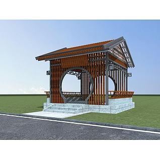 木质休闲亭3d模型