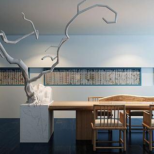 中式茶桌椅3d模型