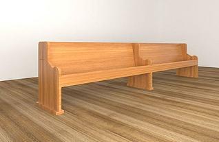 实木长排椅3d模型