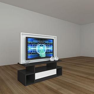 黑白拼色电视柜3d模型