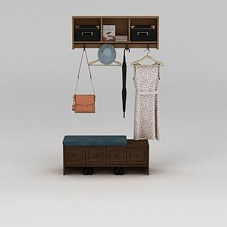 玄关换鞋凳挂钩组合3d模型