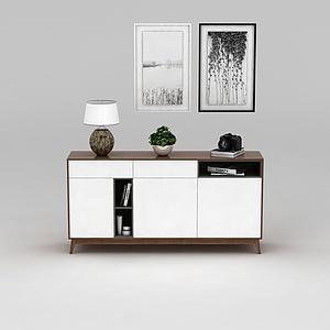 現代簡約裝飾柜掛畫組合模型