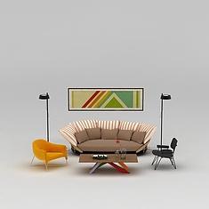 客厅休闲沙发茶几组合3D模型3d模型