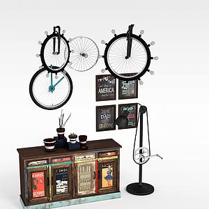工业风装饰柜陈设品组合模型