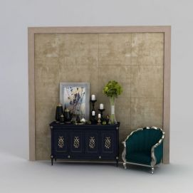 欧式玄关柜沙发椅组合模型