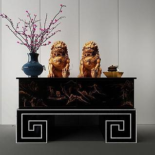 木雕狮子中式装饰3d模型