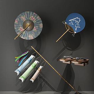 日式鱼旗模型3d模型