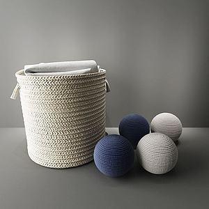 毛线编织收纳筐模型