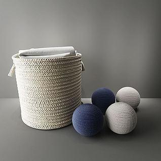 毛线编织收纳筐3d模型