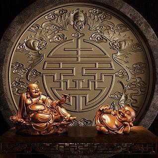 弥勒佛雕塑3d模型