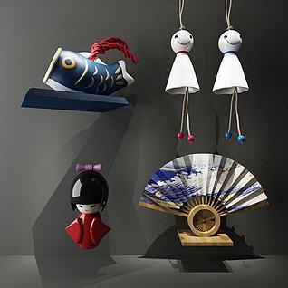日式玩偶风铃装饰3d模型