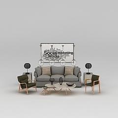 沙发茶几组合3D模型3d模型