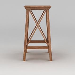 高脚木凳3d模型