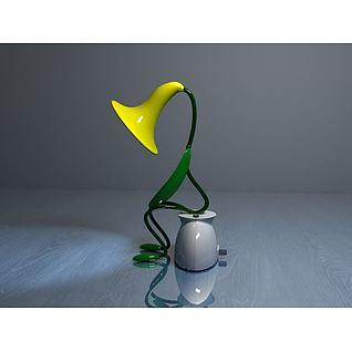 喇叭花台灯3d模型
