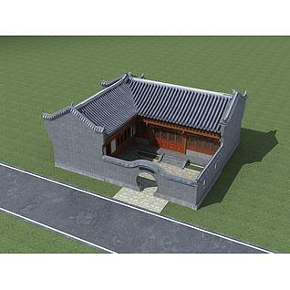 中式合院3d模型