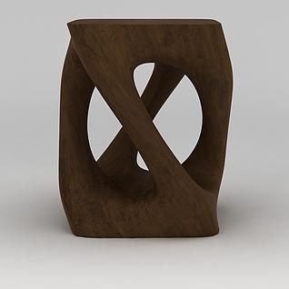 树根板凳3d模型