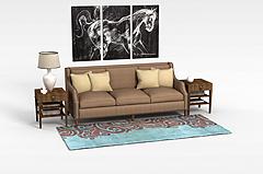 中式沙发边几组合模型3d模型