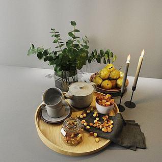 北欧食物组合3d模型