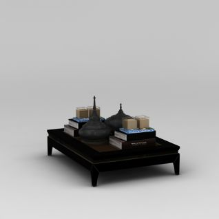 中式古典茶几陈设品组合3d模型