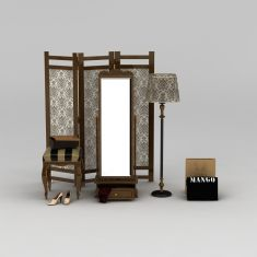 复古风屏风穿衣镜落地灯组合3D模型3d模型
