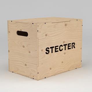 原木盒子3d模型