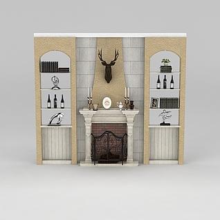 客厅壁炉置物架组合3d模型
