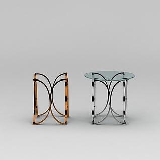 玻璃面休闲桌子3d模型