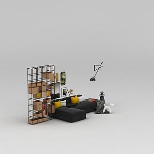 拐角沙发铁艺置物架组合3d模型3d模型