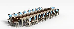 中式多人餐桌椅模型3d模型