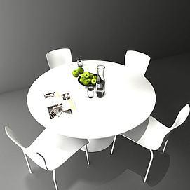 圆形白色餐桌模型