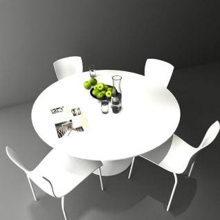 圆形白色餐桌3d模型