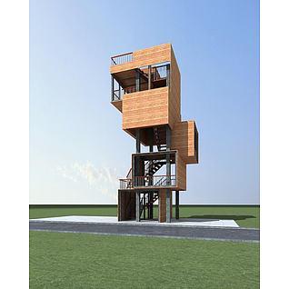 观景塔楼3d模型
