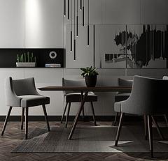 北欧时尚餐桌椅3D模型3d模型