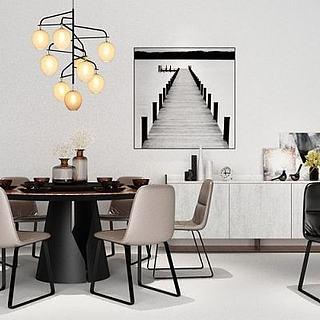 北欧餐桌椅3d模型