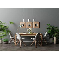 北欧实木餐桌椅3D模型3d模型