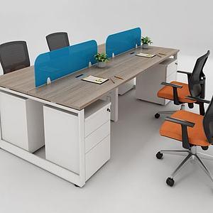 现代职员办公桌椅组合模型