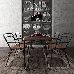 工业风餐桌椅模型3d模型